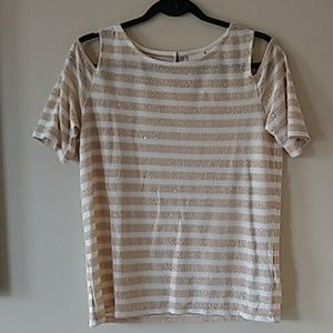 Chicos glitter cold should blouse. M NWT